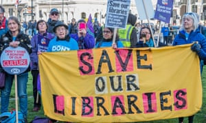Demonstrators at the Save Our Libraries protest in London on 3 November.