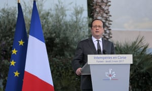 François Hollande gives a speech on 2 March in Corsica.