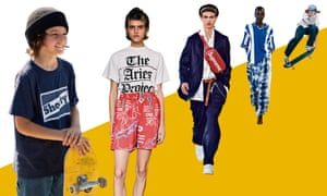 From left; Sunny Suljic as Stevie in Mid90s, Aries, Louis Vuitton, Stella McCartney and a skater at The Bowl at Selfridges.