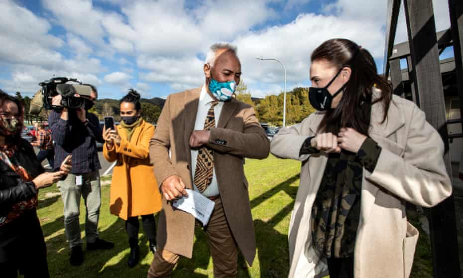 New Zealand prime minister Jacinda Ardern visits Wainuiōmata marae vaccination clinic.