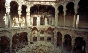 The bombed National Library in Sarajevo, 1993.