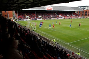 Hartlepool in action during their recent defeat at Leyton Orient.