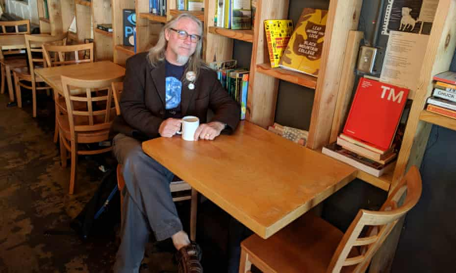Bruce McCluggage enjoys a coffee at the Wild Goose, in Colorado Springs.