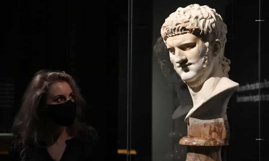 a marble bust of Nero in the British Museum exhibition.