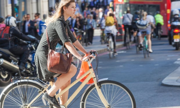 Woman on a bicycle in London