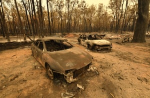 Tingha, Australia. The remains of cars after bushfires burned through more than 17,000 hectares (42,500 acres) of land in New South Wales