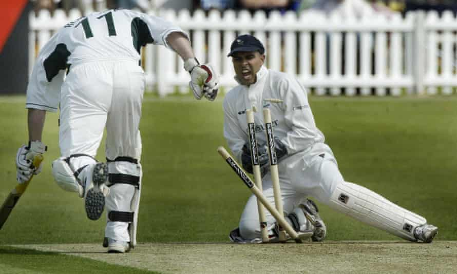 Ismail Dawood keeping wicket for Yorkshire. He played for four first-class counties and two minor counties.