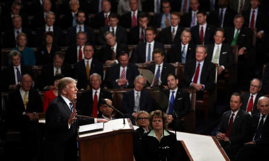 Donald Trump delivers his address to Congress.