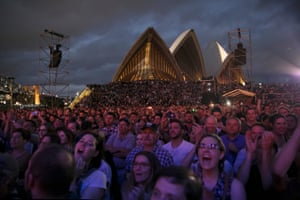 Crowded House performing on the steps of Sydney Opera House