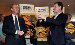 Tim Farron and Nick Clegg at a Lib Dem event in Kingston today.