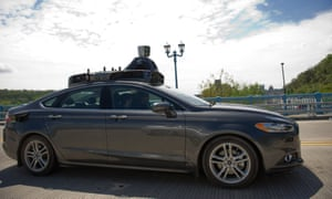 An Uber automated-vehicle taking a test-drive in Pittsburgh where driverless rides are soon to become a reality.