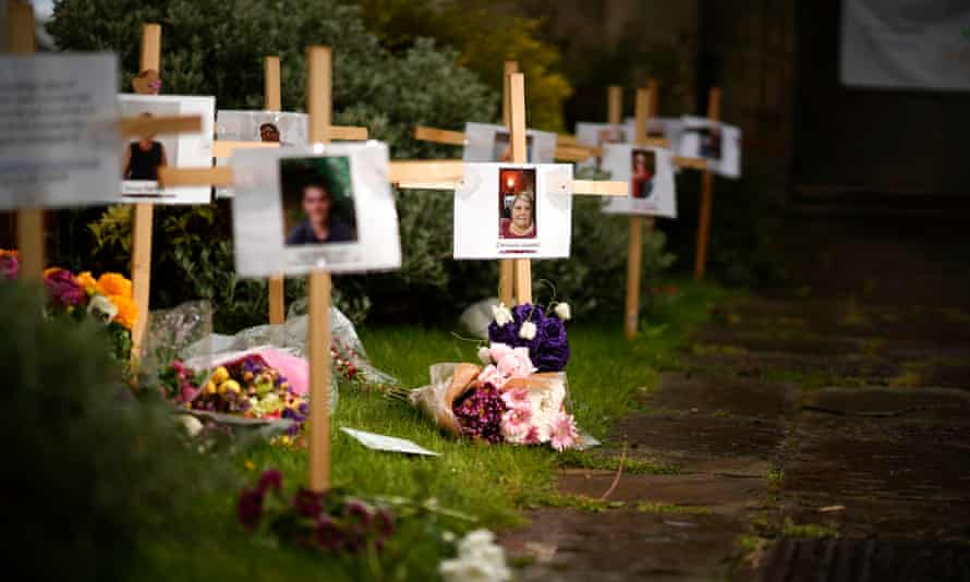 Photographs and messages at Riverside Church in Burton-on-Trent, Staffordshire.