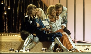 Bjorn, Agnetha, Anni-Frid and Benny after winning the Eurovision Song Contest in Brighton in 1974.