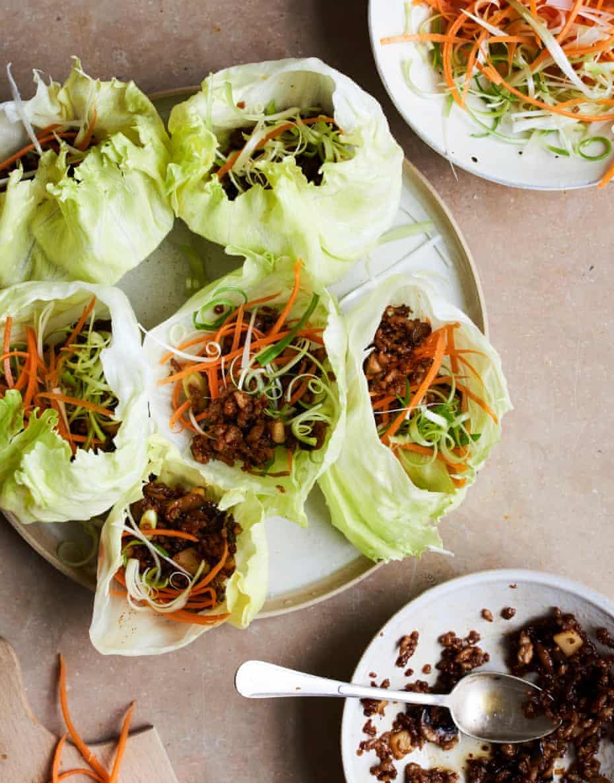 Lara Lee's san choy bau (lettuce leaves filled with pork and spring onion).