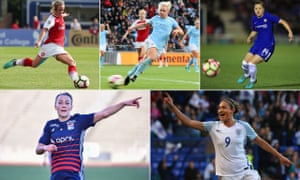 Clockwise from top left: Jordan Nobbs, Isobel Christiansen, Fran Kirby, Jodie Taylor and Lucy Bronze.