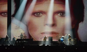 David Bowie's band perform on stage during the 2016 Brit awards at the O2, London.
