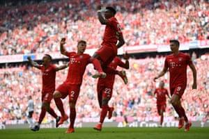 David Alaba of Bayern Munich celebrates after scoring his team's second goal.