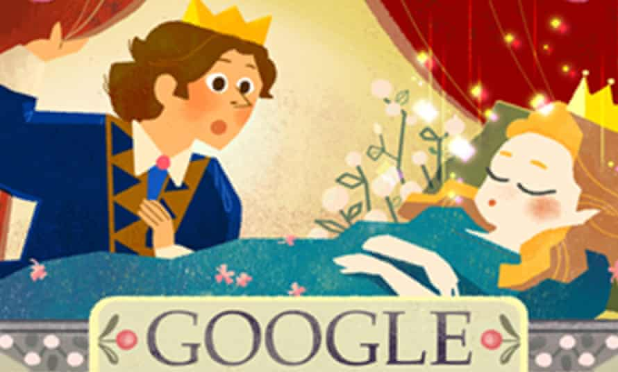 Sleeping Beauty Google doodle on Tuesday 12 January by Sophie Diao (portion).