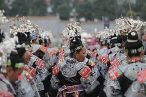 Miao women celebrate at a traditional folk festival in Qiandongnan, Guizhou province, China