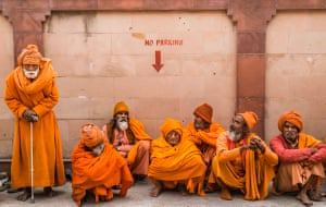 These saddhus may have travelled great distances to attend the mighty Kumbh Mela, a mass Hindu pilgrimage. Haridwar, northern India