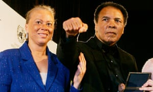 Muhammad Ali with his fourth wife, Lonnie Ali, in 2005.