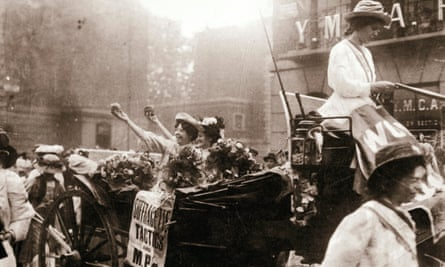 Mary Leigh (in carriage, left) celebrating her release from Holloway prison on 22 August 1908 after being imprisoned for her part in a window-smashing attack on 10 Downing Street