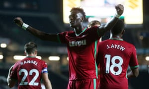 Tammy Abraham celebrates after his first goal for Swansea sealed victory at MK Dons.