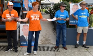 One Nation leader Senator Pauline Hanson at a polling booth in the Sunshine Coast on Saturday.