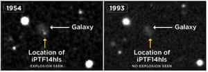 An image taken by the Palomar Observatory Sky Survey reveals a possible explosion in the year 1954 at the location of iPTF14hls (left), not seen in a later image taken in 1993 (right).