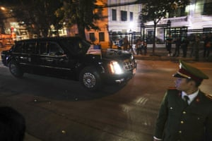 President Trump's motorcade leaves after the meeting