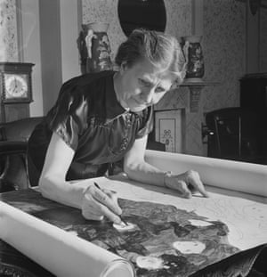 The self-taught Madge Gill working at home in East Ham, London, August 1947. An exhibition of her work is at the William Morris Gallery, London E17, until 22 September