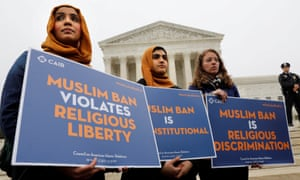 Protesters gather outside the US supreme court on 25 April.