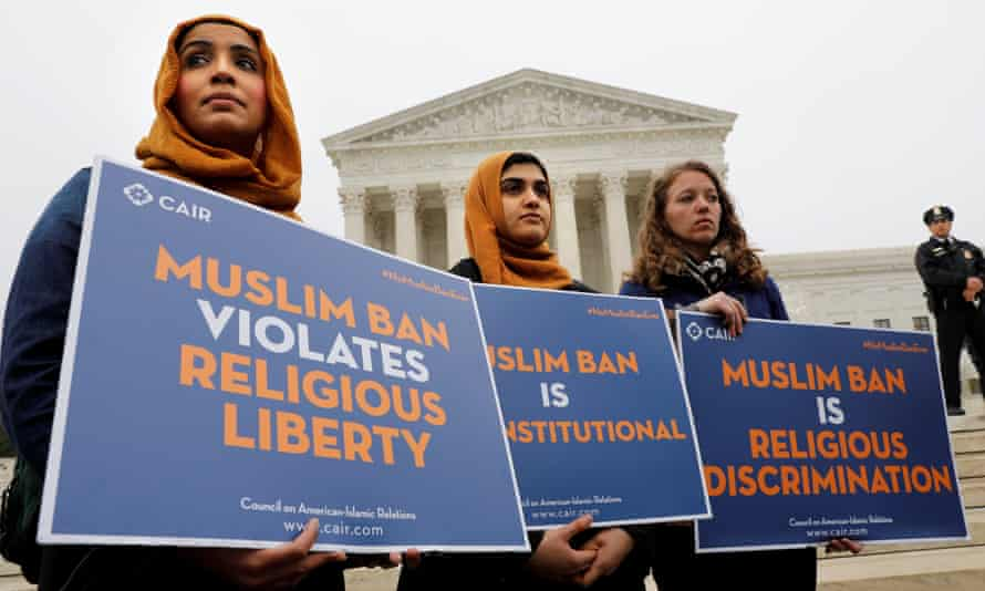 Protesters gather outside the US supreme court in April, while the court justices consider Donald Trump's travel ban targeting people from Muslim-majority countries.