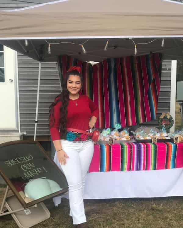 Mariela Garcia sells her baked goods at a farmer's market about an hour north of Houston.