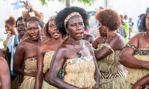 Bougainville residents gather to vote in Buka.