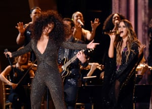 Morris performing with Alicia Keys at the Grammys in February.