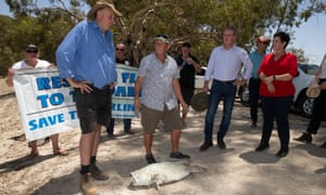 NSW Labor leader Michael Daley is shown a dead Murray cod by Menindee locals in January