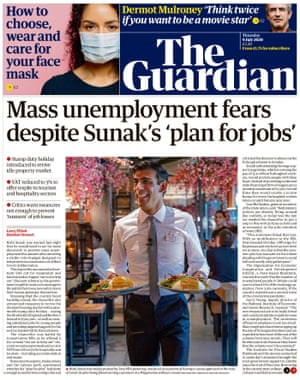 Guardian front page, Thursday 9 July 2020