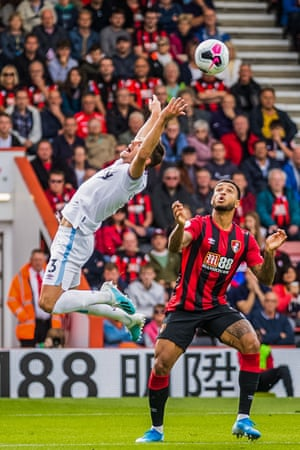 Aaron Cresswell of West Ham and Joshua King of Bournemouth during a 2-2 draw at the Vitality Stadium.