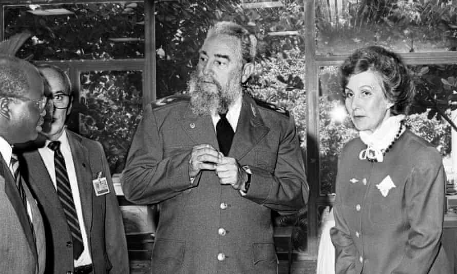 Margaret Anstee with President Fidel Castro of Cuba at a United Nations crime congress in 1990.