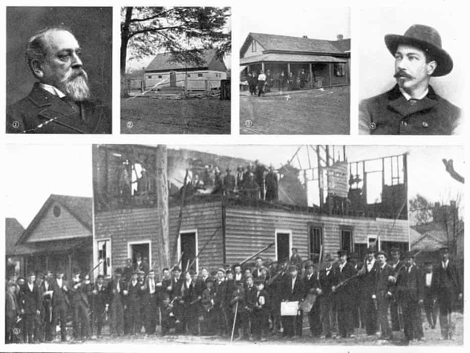 Wilmington, NC race riot, 1898: (1) Alfred M Waddell; (2) Manhattan Park, where the shooting took place; (3) 4th and Harnet, where the first black workers fell; (4) E G Parmalee, new chief of police (5) the wrecked Record building and a group of vigilantes.