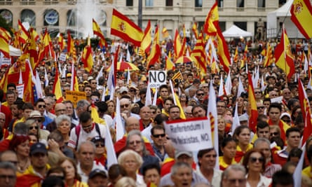 A demonstration supporting Spanish unity in Barcelona.