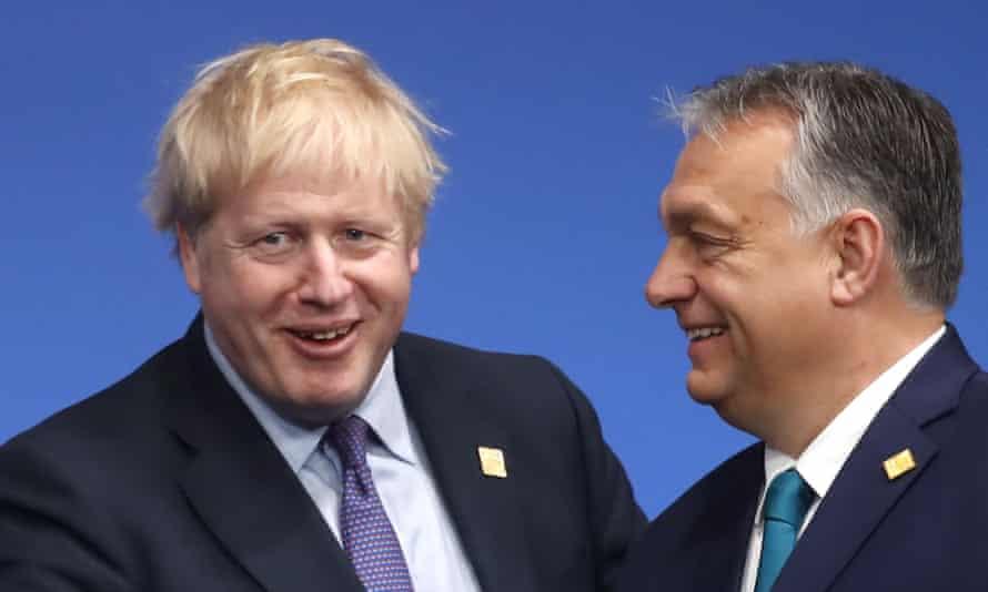 Boris Johnson and Viktor Orbán pictured in London in December 2019