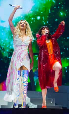 Rita Ora and Charli XCX perform on stage at The O2 Arena in May 2019 in London, England