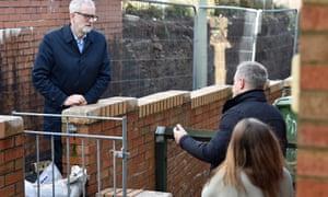 Jeremy Corbyn visits flood victims in Rhydyfelin, Wales, on 20 February.