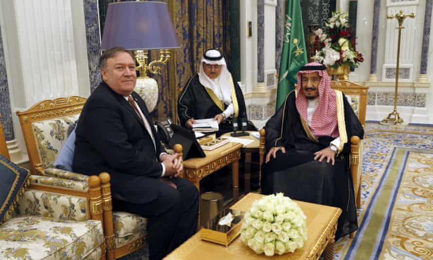 Mike Pompeo meets Saudi Arabia's King Salman in Riyadh.