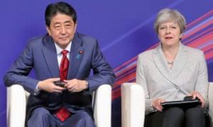 The Japanese PM, Shinzo Abe, with Theresa May