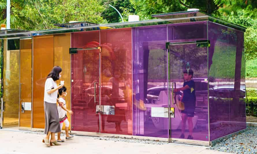 Clear public toilets in Tokyo, designed by architect Shigeru Ban