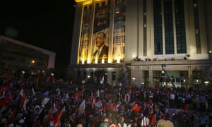 Crowds gathered in Ankara to hear Erdoğan give his victory speech.