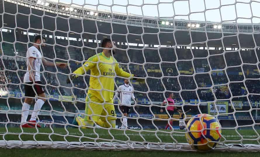 Gianluigi Donnarumma is beaten during Milan's loss at Verona.